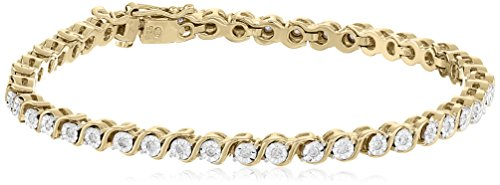 18k Yellow Gold Over Sterling Silver Diamond Miracle Plat...