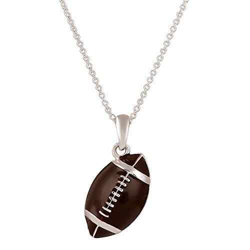 Lureme Fashion Style Silver Tone Enemal Football Pendant Necklace Coffee Color (01003112)]()
