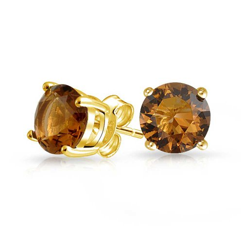 1CT Brown Cognac Round Cubic Zirconia Brilliant Cut Solitaire AAA CZ Stud Earrings 14K Gold Plated Sterling Silver 7MM