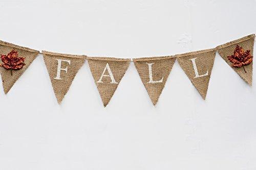 Hand Glittered Fall Burlap Banner Sign ()