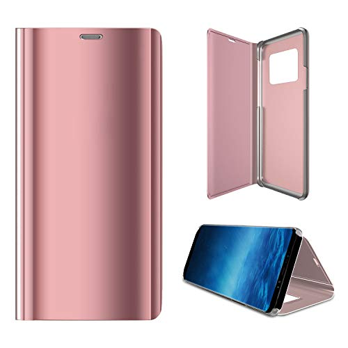 Samsung Note 9 Case, NOHON Answer Without Flip-Over [Smart Sleep Wake Up] [Mirror Makeup Case] [Flip Curved Surface Cover with Kickstand] [Built-in Metal Magnetic] for Galaxy Note 9 (Rose Gold)]()