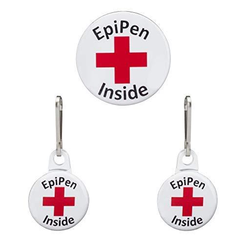 Epi Pen Alert Button Medical Alert Allergy Epi Pen Inside 3 Pack! EpiPen Tag, Emergency Syringe Tag Set, Tag Set for Bag, Tag Set for Kid, Epipen Bag Tag