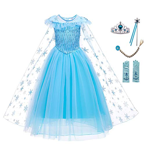 guest dream Girls Princess Dress Birthday Costumes Christmas with Gloves, Crown, Wand, Accessories Age of 3-7 Years