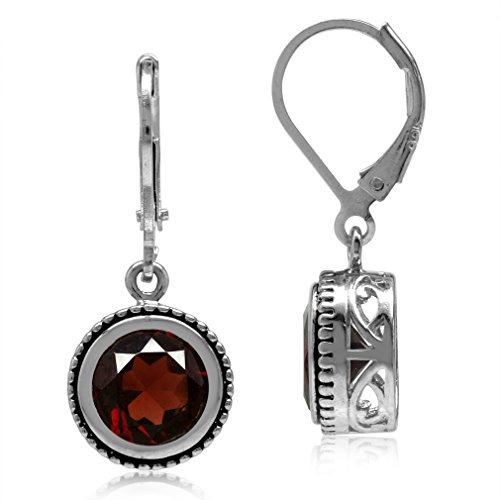 4.28ct 8MM Natural Round Shape Garnet 925 Sterling Silver Filigree Balinese Style Leverback Earrings