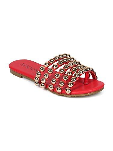 Alrisco Femme Similicuir Bout Ouvert Clouté Sur Sandale - Hh21 Par Mackinj Collection Simili Cuir Rouge