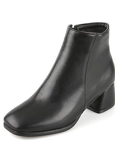 XZZ/ Damen-Stiefel-Kleid / Lässig-Kunstleder-Blockabsatz-Quadratische Zehe / Motorradstiefel-Schwarz / Rot / Beige beige-us8 / eu39 / uk6 / cn39