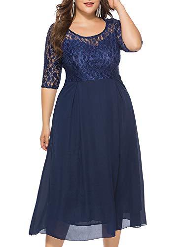 KILOLONE Women's Plus Size Formal Dresses Floral Lace Midi Cocktail A Line Swing Party Dress