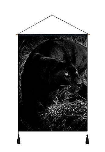 DZ.HAIKA Black Panther (N36) - Animal Picture Art Print Cotton Linen Home Wall Decor Hanging Posters(18x26inch Black and White)