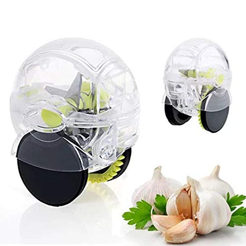 Best Rolling Garlic Chopper,Garlic Press, Crusher,Mincer,Grinder,Grater,Cutter, Garlic Wheel,Garlic Slicer, Easy To Use and Clean,SqueezeTool,kitchen Gadget, (Clear).
