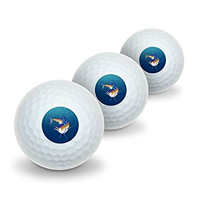 Blue Marlin Swimming in Ocean Novelty Golf Balls 3 Pack