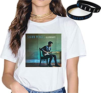 Shawn Mendes T-Shirt Bracelet Gift Logo Concert Tee Music Fashion Wristband Print Fallin' All in You Mix Colours