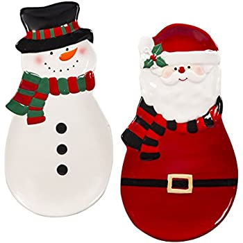 christmas kitchen decor holiday spoon rest santa and snowman set of 2 - Santa And Snowman