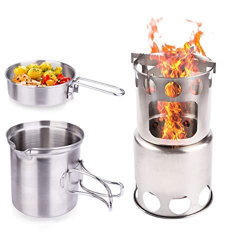 NULIPAM Camping Wood Stove Stainless Steel Stove Combo, Portable Backpacking Cooking Set