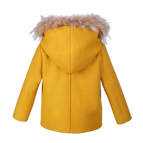 Phorecys Big Girls Woolen Single-Breasted Coat Jacket with Faux Fur Age of 2-10