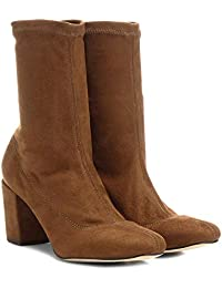e30bf7e29a Bota Meia Cano Médio Shoestock Stretch Salto Grosso Feminina