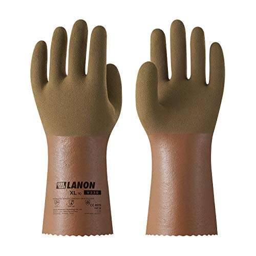 LANON Protection V330 Nitrile Chemical Resistant Gloves, Reusable Heavy Duty Work Safety Gloves, Ultra Grip, Anti-slip, Anti-oil, Latex Free, Silicone Free, CE Listed, CAT III, Extra - Protection Gloves Heavy Duty