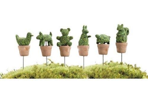 ShopForAllYou Figurines and Statues Miniature Dollhouse Fairy Garden - Animal Topiaries - Set of 6 - Accessories