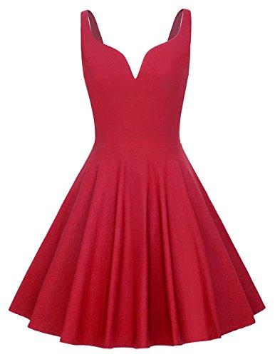 Women Spaghetti Strap Swing Dress Flare A Line Dress Size L Red