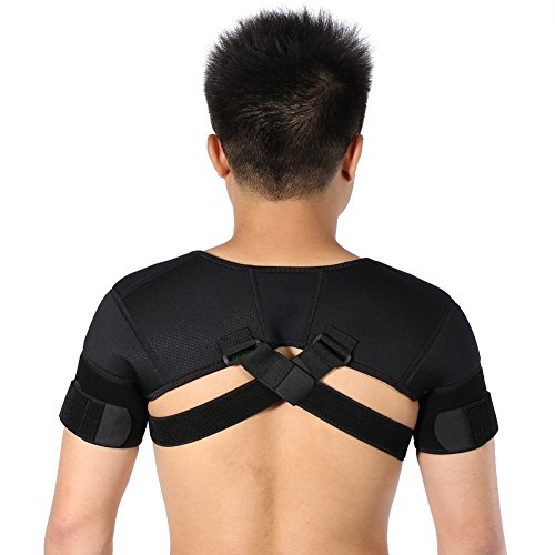 ZJchao Double Shoulder Support Belt, Neoprene Adjustable Brace Correction Band for Protector Shoulder Injury Prevention and Help Recovery (XL)