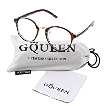 GLASSES QUEEN 201565-Vintage Inspired Classic Clubmaster Nerd Wayfarers Clear Lens Glasses,BROWN