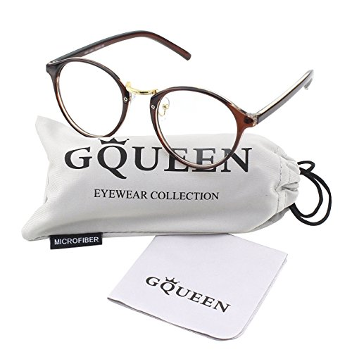 GQUEEN 201565 Vintage Inspired Horned Rim Metal Bridge Clear Lens Eye - Glasses Fake Vintage