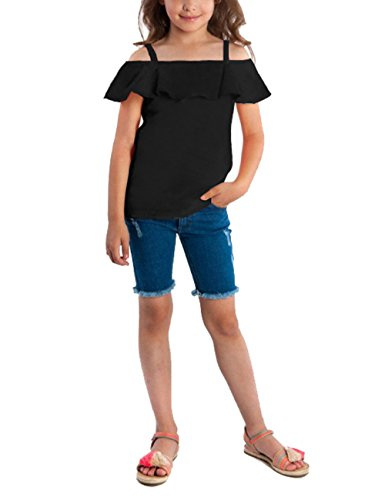 ACKKIA Girls Cold Shoulder Ruffled Falbala Short Sleeve Tops Casual Solid Black Shirt Size L (Fits 8-9 Years) (Black 10 T-shirt)