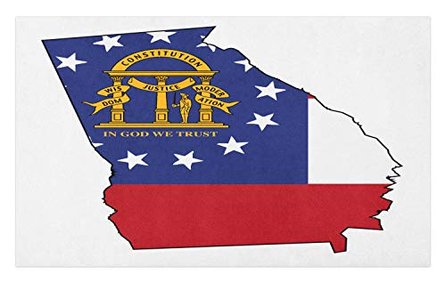 Lunarable Georgia Doormat, State Map Outline Flag Peach State Constitution, Decorative Polyester Floor Mat with Non-Skid Backing, 30 W X 18 L Inches, Cobalt Blue Vermilion Earth Yellow and White