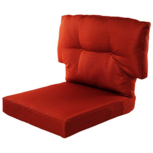 Quality Outdoor Living All Weather Deep Seating Patio Chair T-Back Style Seat and Back Cushion Set, 23-Inch by 26-Inch, Rust Orange (Seating Patio Deep Sets Cushion)