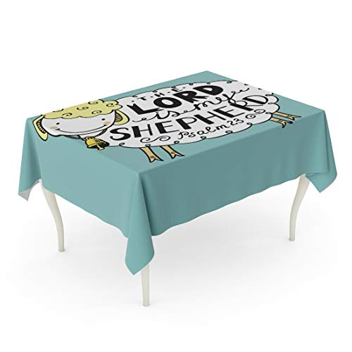 Tarolo Rectangle Tablecloth 60 x 102 Inch Hand Lettering The Lord is My Shepherd Made in Form of Funny Sheep Bell Biblical Christian Psalm Sunday School Children Ministry Table Cloth