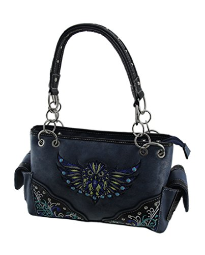 Purse Handbags Carry Womens Blue Shoulder Concealed Owl Trim Vinyl Flying Embroidered wCZzTP