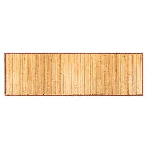 100% Natural Bamboo Floor Mat Bath Rugs, Waterproof Non Slip Mold Resistant Roll-Up Mat for Bathtub or Bath Floor Spa (21 x 60 inches)