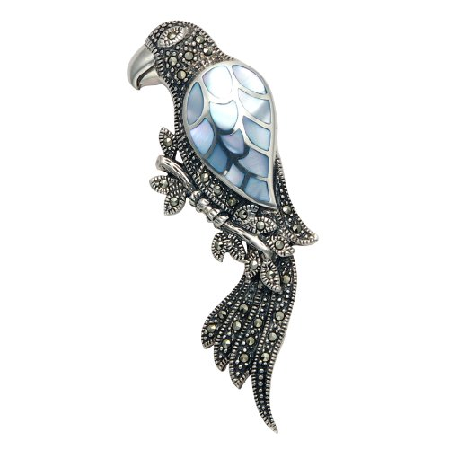 Sterling Silver Parrot Pin with Marcasite Stones and Inlaid Blue Shell Wing