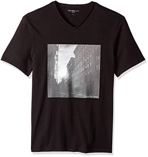 Calvin Klein Jeans Men's Short Sleeve Soho Graphic V-Neck T-Shirt, Black, - Soho Nyc Navy