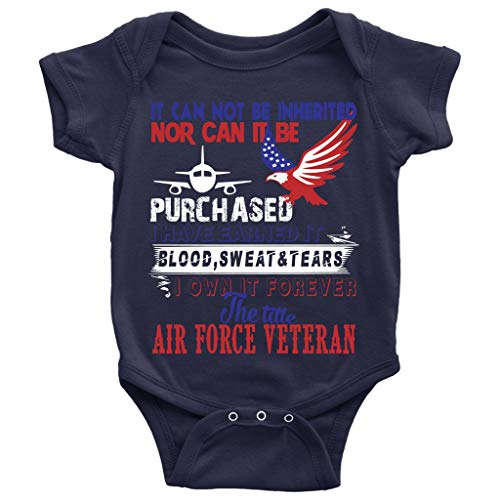 The Title Air Force Veteran Baby Bodysuit, Cool Air Force Veteran Baby Bodysuit (6M, Baby Bodysuit - Navy)