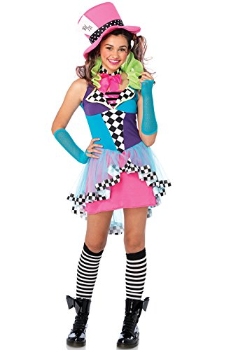 The Mad Hatter Girl Costumes - Leg Avenue Junior's 3 Piece Mayhem Hatter Costume, Multicolor, Medium/Large