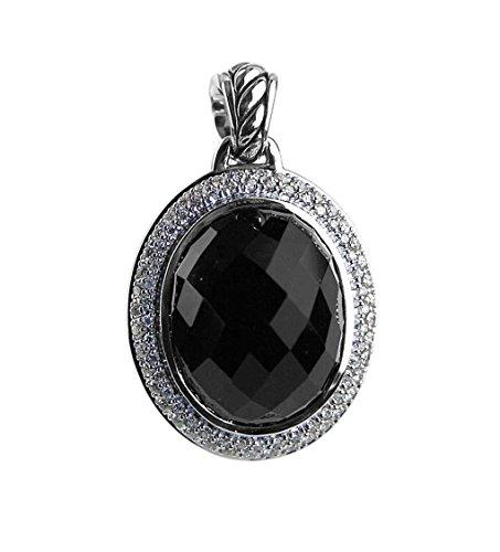 - DAVID YURMAN AMAZING ST. SILVER 22 x 18mm ONYX & DIAMOND PENDANT DIAMONDS 4P NEW