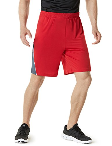 (TM-MBS03-RED_Large Telsa Men's Athletic Training Shorts Active HyperDri III w Pockets MBS03)