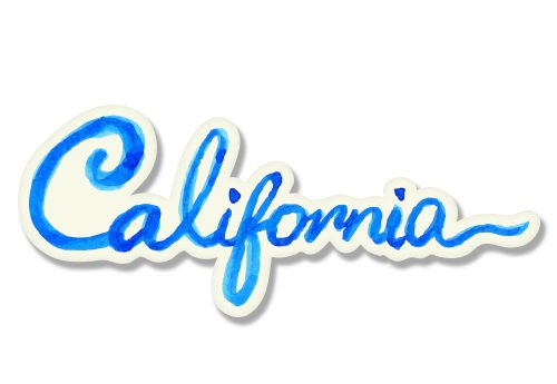 Beach Decal Sticker (California Watercolor Beach Native Ocean Surf Vinyl Sticker - Car Phone Helmet - SELECT SIZE)