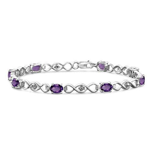 "Jewelexcess 3.30 CTW Genuine Amethyst Gemstone & Accent White Diamonds Bracelet in Sterling Silver, 7.25"""