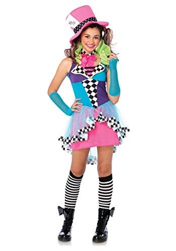 Leg Avenue Junior's 3 Piece Mayhem Hatter Costume, Multicolor, (Mad Hatter Costume For Teens)