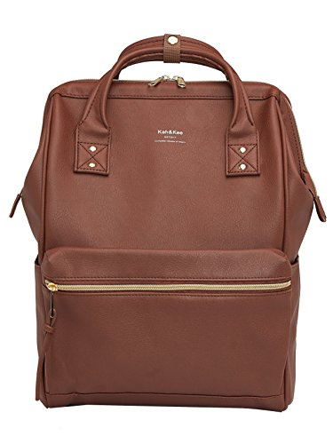 Kah&Kee Leather Travel Notebook Backpack Laptop School Diaper Bag for Women Man (Brown, Large)