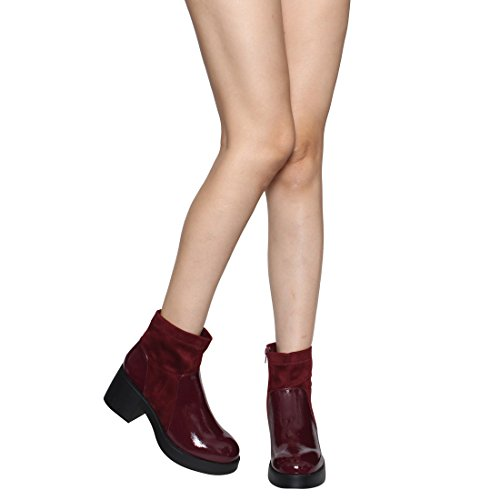 Run Booties High Stacked Womens Ankle Heel Wine Large Top EJ45 Beston Chunky q7zaZZ