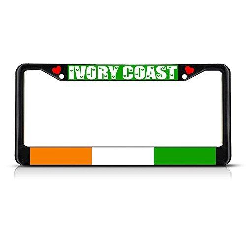 Elvira Jasper Ivory Coast Country Flag METAL Black License Plate Frame Tag Holder