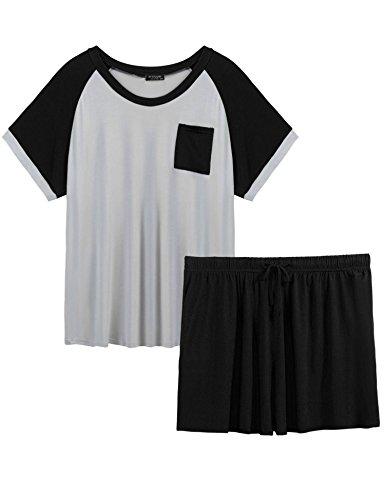 Plus Size Women Short Sleeve T Shirt and Shorts Pajamas Sleepwear Set Loungewear