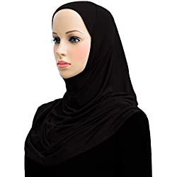 Lycra Amira Hijab 1 piece Long Womens Headscarf (Black)