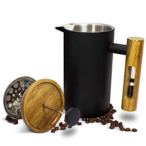 MoreFlavor Prensa francesa de acero inoxidable y madera de acacia, la cafetera de émbolo perfecta para tu hogar…