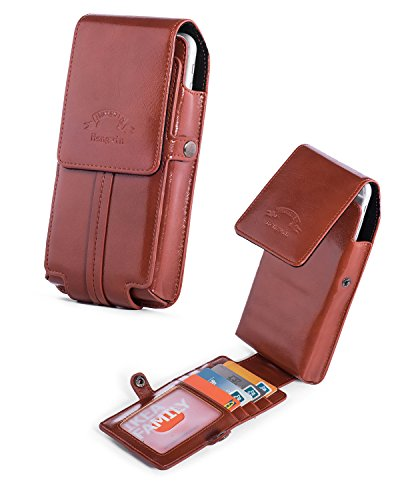 iPhone 8 Plus Holster Belt Case Clip,Vertical Luxury Pu Leather Phone Holster Belt Pouch Loop Carrying Cover Case with Card Slots Wallet for Galaxy Note 8 S7 edge Plus S8 Plus LG G5/G6+Keychain-Brown Leather Wallet Carrying Case