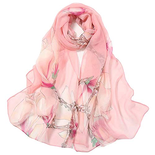 (Print Silk Feeling Scarf Fashion Scarves Lightweight Sunscreen Shawls for Women (Magnolia&Pink))