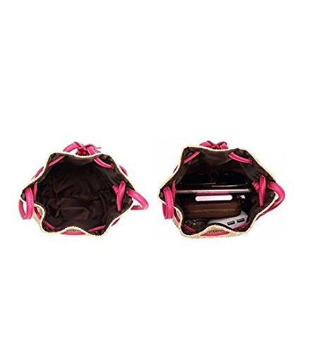 A De Bolso Del Del Balde De Rosa Playa Hechos Retro Bolsa La Vacaciones Monedero Cordón Paja Tejida Del De De Color Mano Mujer Hombro Niñas Crossbody Bolsa dT6RwS