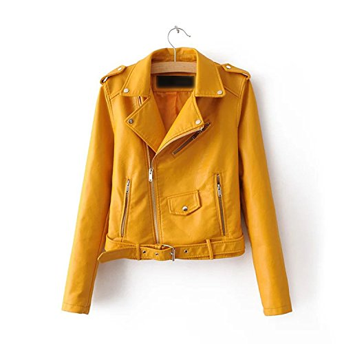 Pu Coat Zipper Kidly Soft Motorcycle Faux Brown Lined Yellow5 Jacket Leather Epaulet Slim Full rw7Pxrgz